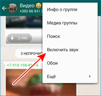 Включить звук в Whatsapp