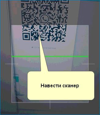 Навести сканер на экран