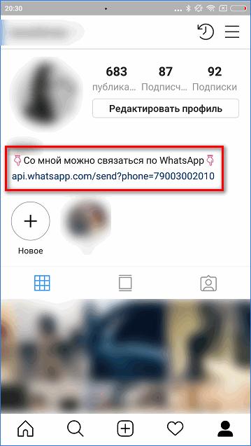 Готовая ссылка на беседу в WhatsApp в приложении Instagram