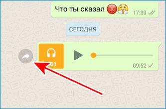 Нажать на серую стрелку WhatsApp