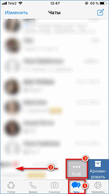 Дополнительное меню чата в WhatsApp на iPhone