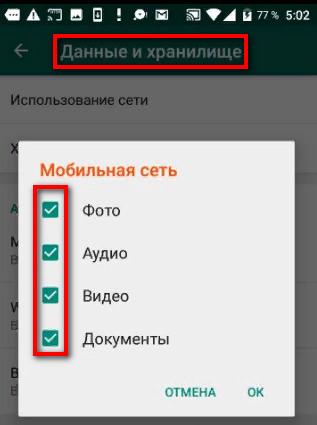 Настройка сохранения файлов в WhatsApp