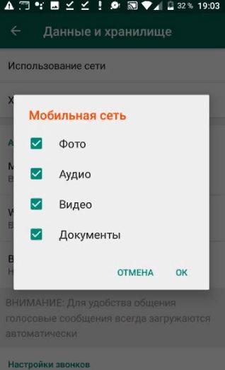 Настройки автозагрузки в WhatsApp