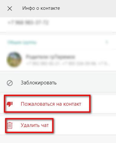 Удаление чата в WhatsApp WEB