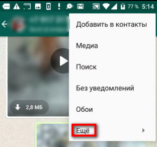 Вход в экспорт чатов WhatsApp