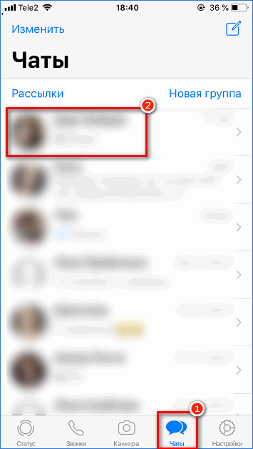 Выбор беседы в WhatsApp на iPhone